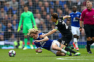 Tom Davies of Everton (l) is tackled by Nemanja Matic of Chelsea. Premier league match, Everton v Chelsea at Goodison Park in Liverpool, Merseyside on Sunday 30th April 2017.<br /> pic by Chris Stading, Andrew Orchard sports photography.