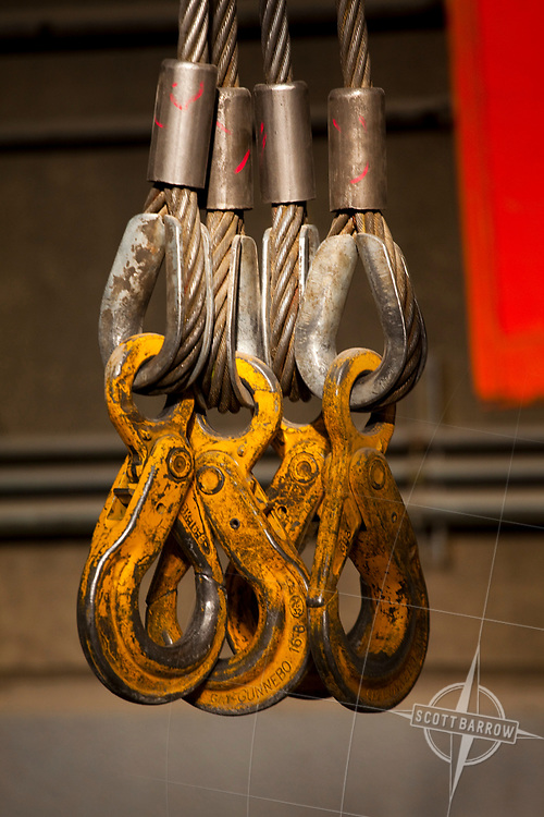 Unistress Rigging parts for cranes.  Wire rope slings, hooks,<br /> and shackles.