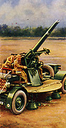 'Mobile anti-aircraft gun used by Territorial and Home Defence units. From ''Air Raid Precautions'' Set of 50 cards issued in 1938, preparing the British population for outbreak of war. Antipicitated. World War II.'