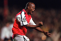 Sylvian Wiltord celebrates scoring the 1st Arsenal goal after Theirry Henrys missed penalty. Arsenal 3:2 FC Shakhar Donetsk, UEFA Champions League, Group B, 20/9/2000. Credit Colorsport / Stuart MacFarlane.