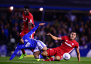 Isaac Cassell of Birmingham battles for the ball with Lee Peltier of Cardiff City  (r)   .EFL Skybet championship match, Birmingham city v Cardiff city at St.Andrew's stadium in Birmingham, the Midlands on Friday 13th October 2017.<br /> pic by Bradley Collyer, Andrew Orchard sports photography.
