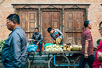 Early morning market sellers near Durbar Square in Patan, Nepal.