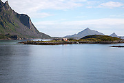 Farmhouse on small skerry island near Stormolla island, Lofoten islands, Nordland, Norway