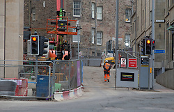 Buiding work at the new St James centre. Edinburgh city centre on Tuesday 25th March, after the Lockdown.