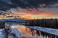 Vivid sunset over the Elk river near Elko, British Columbia, Canada