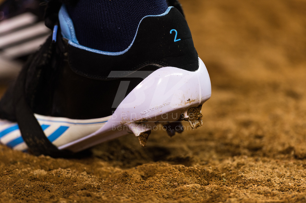 A close up view of the cleats of B.J. Upton (2) of the Tampa Bay Rays as he waits on-deck during a game against the Minnesota Twins on August 10, 2012 at Target Field in Minneapolis, Minnesota.  The Rays defeated the Twins 12 to 6.  Photo: Ben Krause