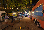 Food Truck Court along Rainey Street in downtown Austin, Texas, USA
