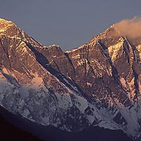 NEPAL, HIMALAYA. Sunset on 29,035' Mount Everest (L) & 27,890' Lhotse, Khumbu Region.