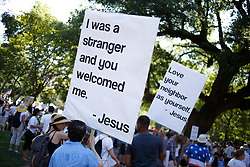 June 30, 2018 - Washington, District of Columbia, USA - Protestors gather in Lafayette Park, across from the White House, for the Families Belong Together rally. (Credit Image: © Michael Candelori via ZUMA Wire)