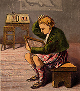 Scottish schoolboy dressed in a kilt and woollen threequarter hose (socks) puzzling over the writing on his slate. Slate and chalk were widespread writing materials in schools, rather than paper and pencil. The slate could be wiped clean and written on again and again. Kronheim chromolithograph from a children's book published London c1885.