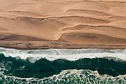 Aerial view of Skeleton Coast, Namib Desert, Namibia.