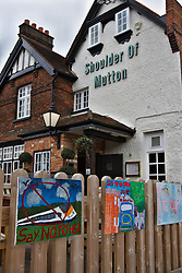 © Licensed to London News Pictures.  10/01/2012. WENDOVER, BUCKINGHAMSHIRE. Posters, drawn by local school children, are seen outside a pub just yards from the proposed route of the HS2 high speed train line, displays a sign protesting against the impact the construction and completed line is expected to have on the Chilterns and Wendover in particular. Photo credit :  Cliff Hide/LNP