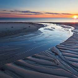 Sand patterns at sunset on Bound Brook Island, Cape Cod National Seashore, Wellfleet, Massachusetts.