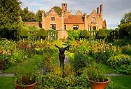The sunken garden at Chenies Manor House during the dahlia season.  Chenies, Rickmansworth, Buckinghamshire, UK