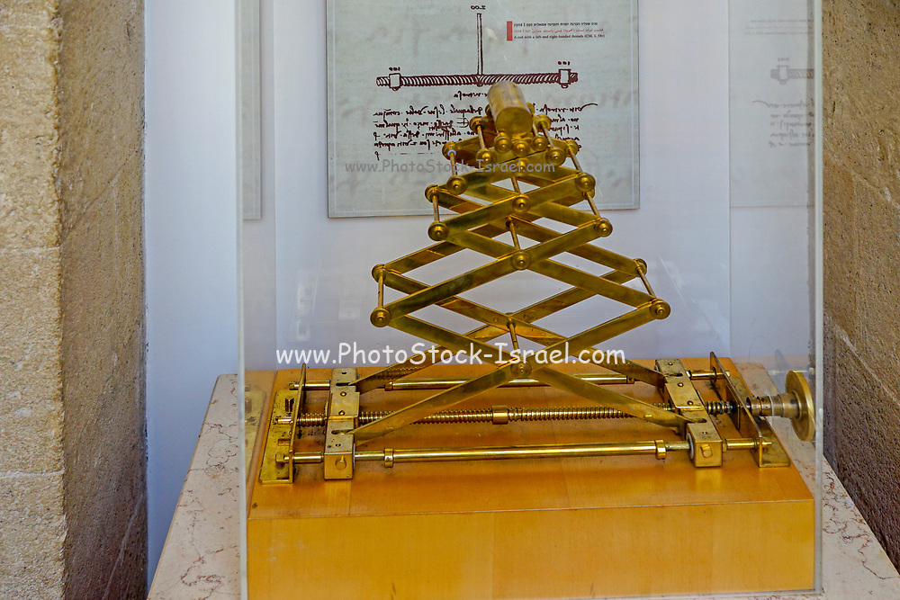 Exhibit based on the design and drawings of Leonardo Da Vinci recreated to display in the Haifa Science Museum, Israel
