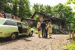 """From L to R: Naomi Watts as """"Rose Mary Walls,"""" Woody Harrelson as """"Rex Walls,"""" Charlie Shotwell as """"Young Brian,"""" and Sadie Sink as """"Young Lori"""" in THE GLASS CASTLE. Photo by Jakes Giles Netter."""