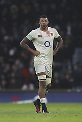 November 12, 2016 - London, England, United Kingdom - Courtney Laws of England shows the signs of a hard fought battle with blood on his shirt during Old Mutual Wealth Series between England  and South Africa played at Twickenham Stadium, London, November 12th  2016  (Credit Image: © Kieran Galvin/NurPhoto via ZUMA Press)