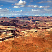 Green River Overlook on Island in the Sky Mesa in Canyonlands National Park offers a breathtaking panorama including the White Rim and the Green River far below.