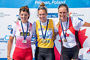 Poznan, POLAND, Sunday, 23/06/2019, Finish of the Women's Single Sculls Final, World Rowing Cup II, Malta Lake Course, © Peter SPURRIER/Intersport Images, <br /> Centre, Gold Medalist, NZL W1X, Emma TWIGG, left, Silver Medalist,  AUT W1X Magdalena LOBNIG, right, Bronze Medalist CAN W1X, Carling ZEEMAN,   FISA World Rowing Cup II, Malta Lake Course, © Peter SPURRIER/Intersport Images,<br /> <br /> 14:44:14
