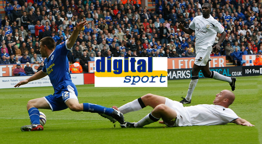 Photo: Steve Bond/Richard Lane Photography<br />Leicester City v MK Dons. Coca-Cola League One. 09/08/2008. Matty Fryatt (L) is fouled by Sean O'Hanlon (R) and a penalty is given