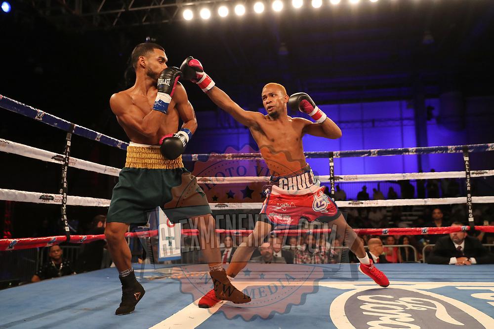 "Christitan ""Macho"" Camacho (L) fights Hector Gonzalez during a Telemundo boxing match at Osceola Heritage Park on Friday, July 20, 2018 in Kissimmee, Florida.  (Alex Menendez via AP)"