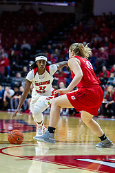 NORMAL, IL - February 07: Tete Maggett charges into action guarded by Emily Marsh during a college women's basketball game between the ISU Redbirds and the Braves of Bradley University February 07 2020 at Redbird Arena in Normal, IL. (Photo by Alan Look)