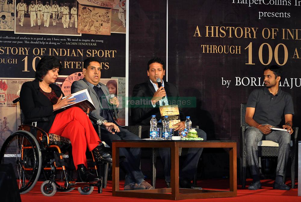 May 9, 2017 - Kolkata, West Bengal, India - Mahesh Bhupathi speaks while Deepa Malik, Boria Majumdar and P. Gopichand (from left to right) listen during the Boria Mazumder book release program in Kolkata. (Credit Image: © Saikat Paul/Pacific Press via ZUMA Wire)