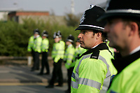 Photo: Pete Lorence.<br />Stoke City v Hull City. Coca Cola Championship. 21/04/2007.<br />Police during the post-match rioting.