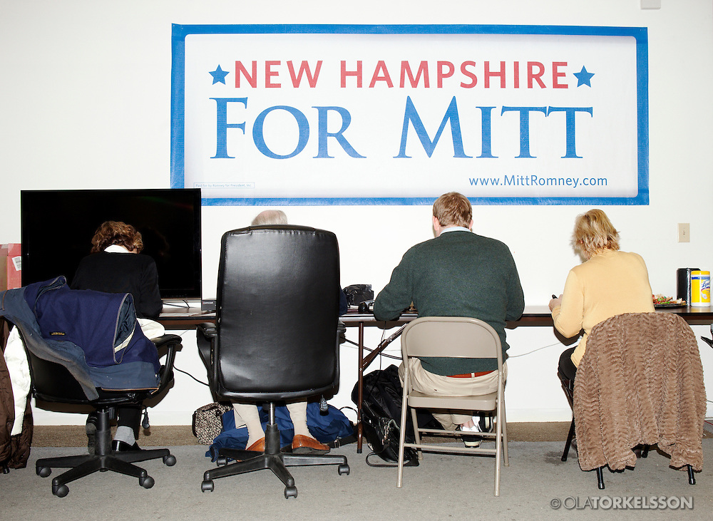 New Hampshire, USA Jan 2012.<br /> The Republican Presidential candidate Mitt Romney   campaigned in New Hampshire in Jan 2012. Romney won the state.<br /> Photo Ola Torkelsson © 2012