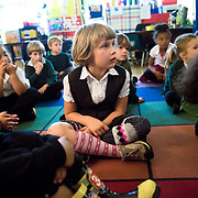 A Kindergarten student at Cesar Chavez Elementary in San Francisco, CA where award winning teacher Robert Sautter teaches.