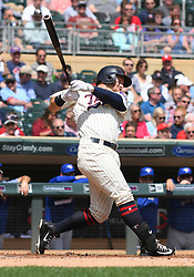 May 2, 2018 - Minneapolis, MN, U.S. - MINNEAPOLIS, MN - MAY 02: Minnesota Twins Outfield Robbie Grossman (36) makes contact during a MLB game between the Minnesota Twins and Toronto Blue Jays on May 2, 2018 at Target Field in Minneapolis, MN.The Twins defeated the Blue Jays 4-0.(Photo by Nick Wosika/Icon Sportswire) (Credit Image: © Nick Wosika/Icon SMI via ZUMA Press)