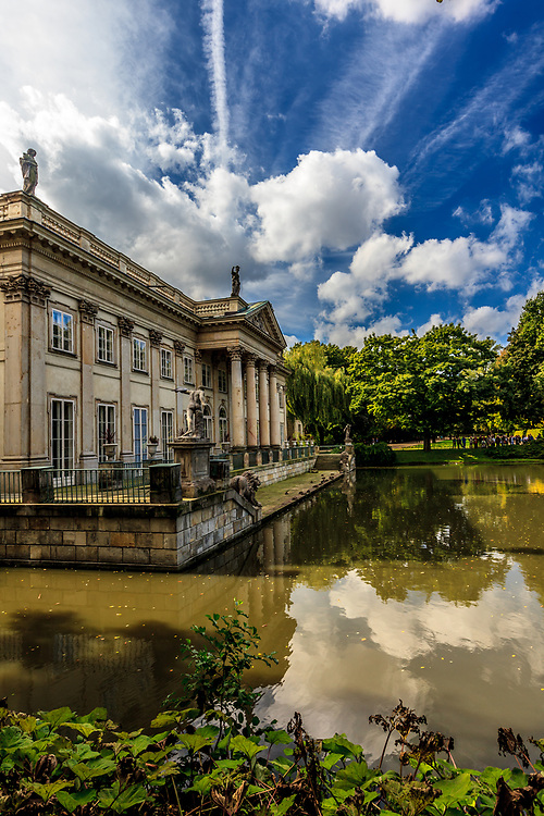 The Łazienki Palace also called the Palace on the Water, or Water Palace in Warsaw, Poland.  Its intended usage was a bathhouse, habitable pavilion, and a garden grotto. It was built in 1689.