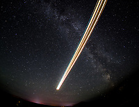 The Milky Way: Final approach lighting, Yukon style, for Air North's Boeing 737-400 C-FANB