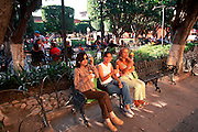 MEXICO, SAN MIGUEL ALLENDE El Jardin plaza with residents relaxing
