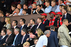 Jamaican sprinter Usain Bolt (back row, centre), Former Manchester United manager Sir Alex Ferguson (front row, centre) and former England manager Sam Allardyce (front row, second left) watch in the stands