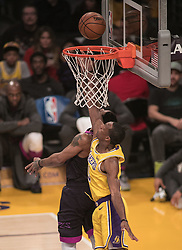 January 24, 2019 - Los Angeles, California, U.S - Rajon Rondo #9 of the Los Angeles Lakers blocks a shot during their NBA game with the Minneapolis Timberwolves on Thursday January 24, 2019 at the Staples Center in Los Angeles, California. Lakers lose to Timberwolves, 105-120. (Credit Image: © Prensa Internacional via ZUMA Wire)