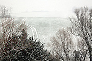 with light snow covered rural agricultural field scenic landscape view