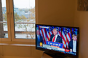 President Elect Donald Trump makes his acceptance speech on the morning after the US Presidential Elections in 2016, as seen on BBC television from a home in London, England, United Kingdom.