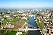 Nederland, Utrecht, Utrecht, 24-10-2013; bedrijventerrein Papendorp met Prins Clausbrug (Ben van Berkel) naar Kanaleneiland. Parkeerterrein P+R Panedorp.<br /> Business park  Papendorp with Prince Claus Bridge (Ben van Berkel) to Kanaleneiland.<br /> luchtfoto (toeslag op standaard tarieven);<br /> aerial photo (additional fee required);<br /> copyright foto/photo Siebe Swart.