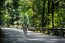 LUXEMBOURG CITY - SEPT-9-2012 - A cyclists rides along one of the main bike trails near Luxembourg City. (Photo © Jock Fistick)