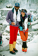 Rob Hall & wife Jan Arnold, Everest base camp after they both summited Mt Everest, Khumbu Himal, Nepal. Pre-monsoon May 1993.