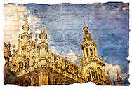 Grand Place, Brussels, Belgium - Forgotten Postcard digital art collage