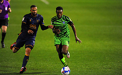 Jordan Bowery of Mansfield Town competes with Ebou Adams of Forest Green Rovers- Mandatory by-line: Nizaam Jones/JMP - 14/11/2020 - FOOTBALL - innocent New Lawn Stadium - Nailsworth, England - Forest Green Rovers v Mansfield Town - Sky Bet League Two