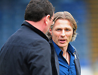 Wycombe Wanderers manager Gareth Ainsworth chats with Blackpool manager Gary Bowyer <br /> <br /> Photographer Kevin Barnes/CameraSport<br /> <br /> The EFL Sky Bet League Two - Wycombe Wanderers v Blackpool - Saturday 11th March 2017 - Adams Park - Wycombe<br /> <br /> World Copyright © 2017 CameraSport. All rights reserved. 43 Linden Ave. Countesthorpe. Leicester. England. LE8 5PG - Tel: +44 (0) 116 277 4147 - admin@camerasport.com - www.camerasport.com