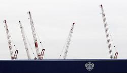 Cranes overlook Loftus Road, home of QPR - Mandatory by-line: Robbie Stephenson/JMP - 01/04/2016 - FOOTBALL - Loftus Road - London, England - Queens Park Rangers v Middlesbrough - Sky Bet Championship