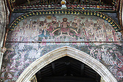Medieval doom painting of the Day of Judgement, Church of Saint Thomas, Salisbury, Wiltshire, England, UK