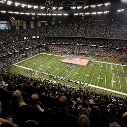 January 7, 2012; New Orleans, LA, USA; A general view from the stands during the national anthem before the 2011 NFC wild card playoff game against the Detroit Lions at the Mercedes-Benz Superdome. Mandatory Credit: Derick E. Hingle-US PRESSWIRE