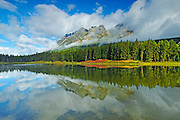 Whitney Lake and Yellowhead Mountain shrouded in cloud <br /> MT ROBSON PROVINCIAL PARK<br /> British Columbia<br /> Canada