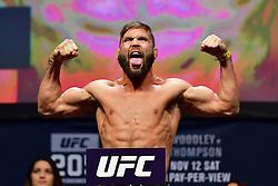 "Nov 12, 2016 - New York, New York, U.S. - Frankie Edgar ""The Answer"" and JEREMY STEPHENS ""Lil' Heathen"" during weigh-in at UFC 205 in Madison Square Garden. (Credit Image: ? Jason Silva/ZUMA Wire/ZUMAPRESS.com)"