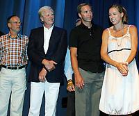 Friidrett / Athletics<br /> ExxonMobil Bislett Games 2005<br /> 29.07.2005<br /> Foto: Morten Olsen, Digitalsport<br /> <br /> Pre-competition dinner<br /> <br /> Famous Bislett Stars of the past. (L-R): Lasse Viren, Terje Pedersen, Steinar Hoen and Hanne Haugland